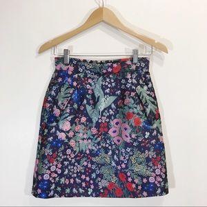 Frank and Oak Jacquard Floral Mini Skirt XS